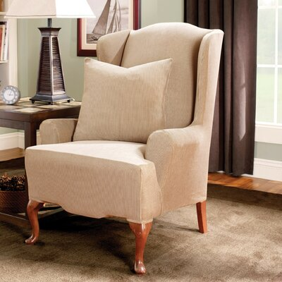 Stretch Stripe Wing Chair Slipcover