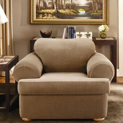 Stretch Stripe Two Piece Chair T-Cushion Slipcover