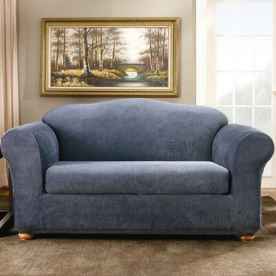 Sure-Fit Stretch Stripe Two Piece Loveseat Slipcover