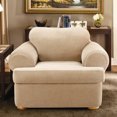 Sure-Fit Stretch Stripe Two Piece Chair T-Cushion Slipcover