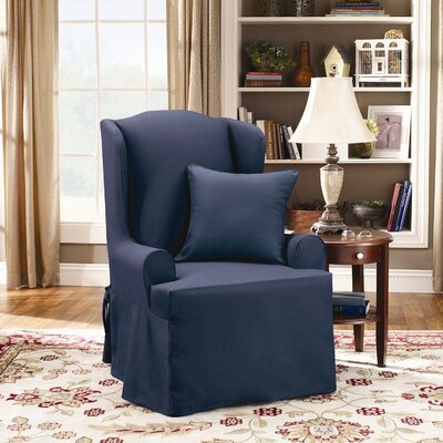 Sure-Fit Twill Supreme Wing Chair Slipcover