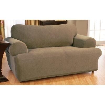 stretch pique sofa t cushion slipcover wayfair. Black Bedroom Furniture Sets. Home Design Ideas