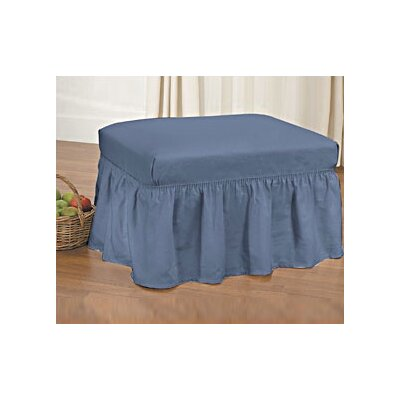 Cotton Duck Ottoman Skirted Slipcover