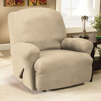 Sure-Fit Stretch Suede Recliner T-Cushion Slipcover