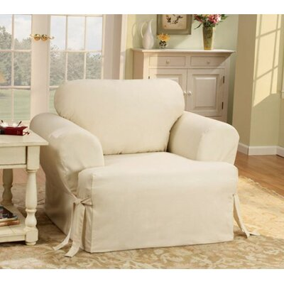 Sure-Fit Cotton Duck Sofa T-Cushion Slipcover for Chair in Natural