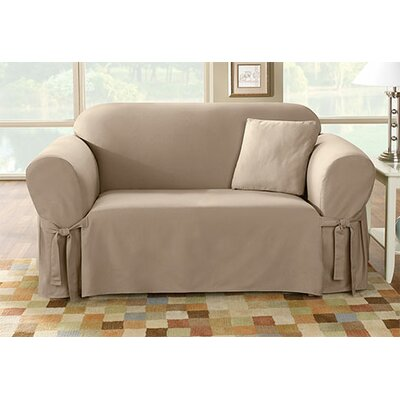 Sure-Fit Cotton Duck Loveseat Skirted Slipcover