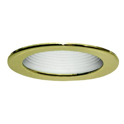"Royal Pacific 4"" Baffle with Polished Brass Trim Ring in White"