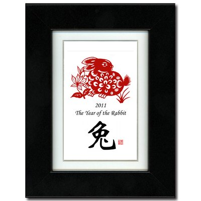 "Oriental Design Gallery 5"" x 7"" Black Satin Frame with Year of the Rabbit Print 07V"