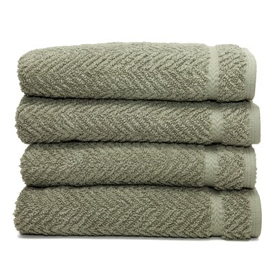 Linum Home Textiles Luxury Hotel & Spa Herringbone Weave 100%Turkish Cotton Hand Towel (Set of 4)