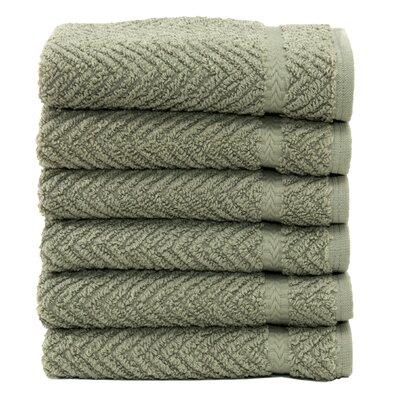 Linum Home Textiles Luxury Hotel & Spa Herringbone Weave 100% Turkish Cotton Wash Cloth (Set of 6)