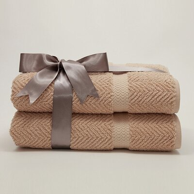 Linum Home Textiles Luxury Hotel & Spa Collection Herringbone Weave 100% Turkish Cotton Bath Towels (Set of 2)