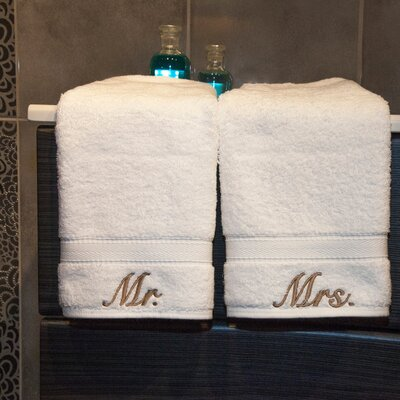 Linum Home Textiles Luxury Hotel and Spa Personalized Mr. and Mrs. Hand Towel (Set of ...