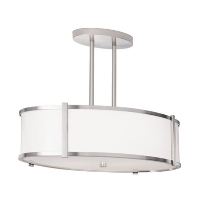 ILEX Lighting Hatbox Oval Drum Pendant with Double Stem