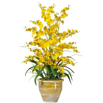 Nearly Natural Triple Dancing Lady Silk Orchid Arrangement in Yellow
