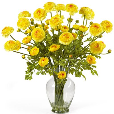 Nearly Natural Liquid Illusion Silk Ranunculus Arrangement in Yellow