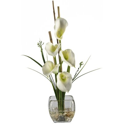 Nearly Natural Liquid Illusion Silk Calla Lily Arrangement in Cream