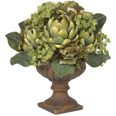 Nearly Natural Artichoke Centerpiece Silk Flower Arrangement in Green
