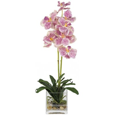 Vanda Silk Orchid Arrangement in Purple with Glass Vase