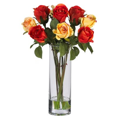 Nearly Natural Silk Rose Arrangement with Glass Vase
