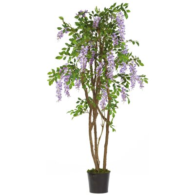 "Nearly Natural 60"" Silk Wisteria Tree in Purple"