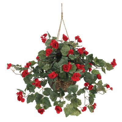Nearly Natural Silk Begonia Hanging Plant in Basket