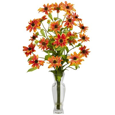 Nearly Natural Cosmos with Vase Silk Flower Arrangement in Orange