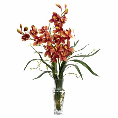 Nearly Natural Cymbidium Silk Flower Arrangement in Burgundy