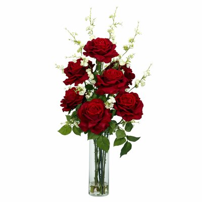 Nearly Natural Roses with Cherry Blossoms Silk Flower Arrangement