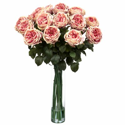 Fancy Rose Silk Flower Arrangement in Pink