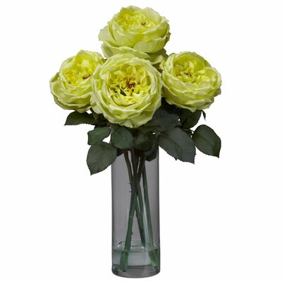 Nearly Natural Fancy Rose with Cylinder Vase Silk Flower Arrangement in Yellow