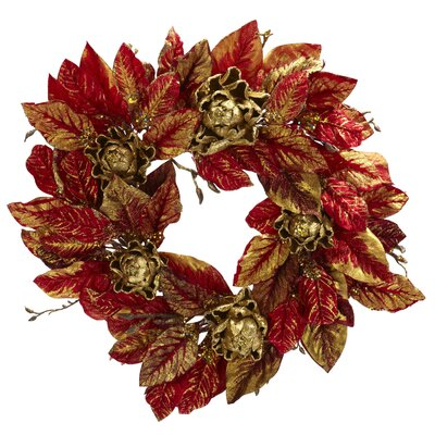 "Nearly Natural 24"" Burgundy & Gold Artichoke Wreath"