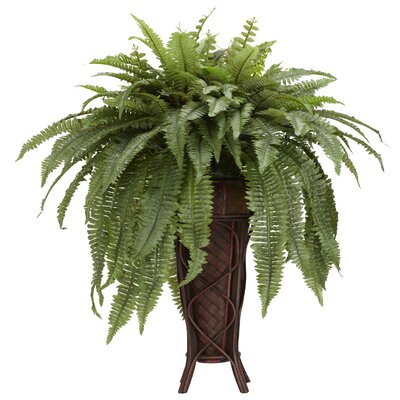 Nearly natural boston fern stand silk floor plant in for Green floor plant