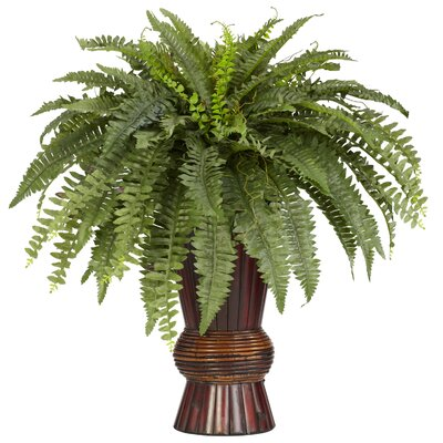 Nearly Natural Boston Fern with Bamboo Vase