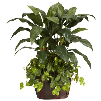 Nearly Natural 4' Double Bird of Paradise with Vase and Pothos Silk Plant