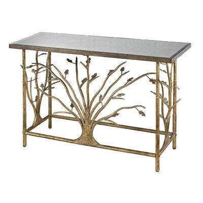 Metal Branch Console Table with Mirrored Top