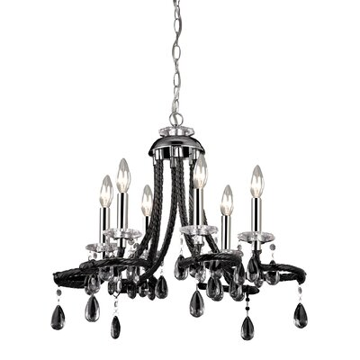 6 Light Mini Chandelier in Black