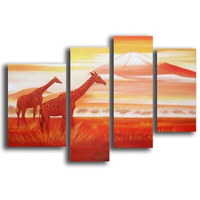 4 Piece Hand Painted 'Africa Mountain' Canvas Art Set