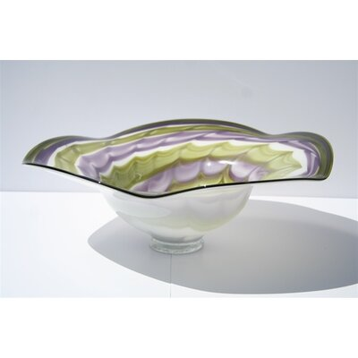 Hand Blown Decorative Bowl in Green and Purple
