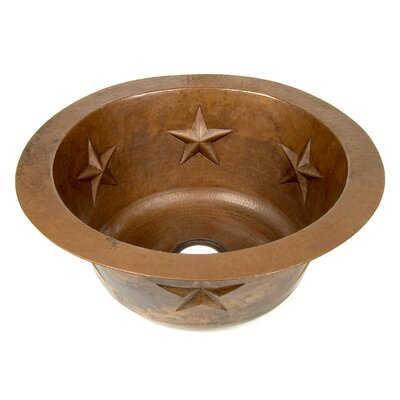 "D'Vontz Copper 16"" x 16"" Round Texas Star Embossed Bar Sink"