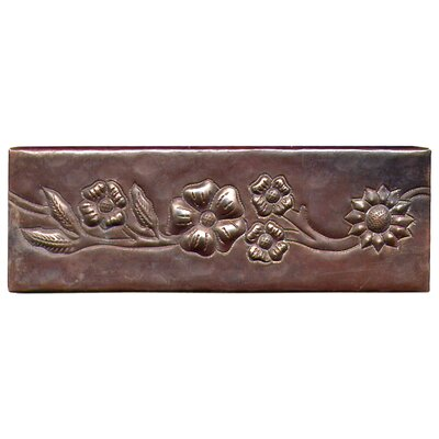"D'Vontz Multi-Flower Band 6"" x 2"" Copper Border Tile in Dark Copper"