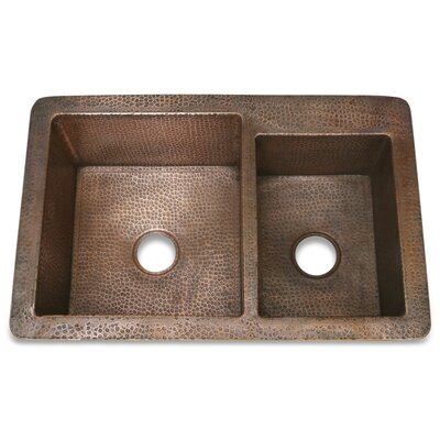 "D'Vontz Copper 36"" x 22"" Hammered 60/40 Kitchen Sink"