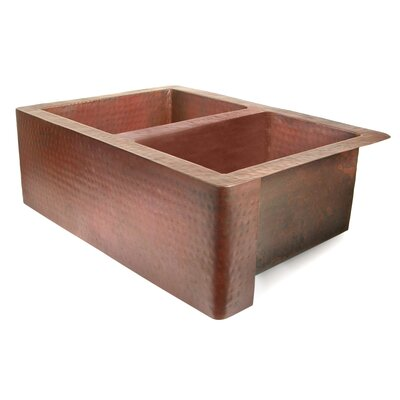 """D'Vontz Copper 33"""" x 22"""" 50/50 Well Farmhouse Kitchen Sink"""