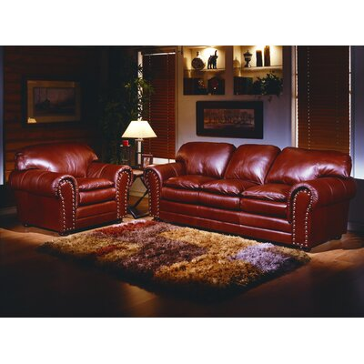 Omnia Furniture Torre 4 Seat Leather Living Room Set