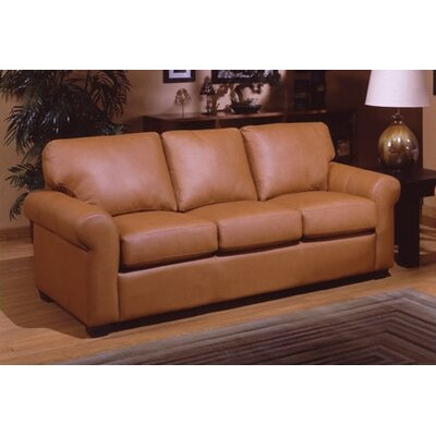 Omnia Furniture West Point Leather Queen Sleeper Sofa