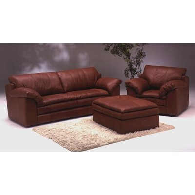 Omnia Furniture Encino Leather 3 Seat Sofa Living Room Set