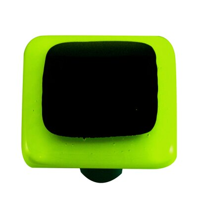 Hot Knobs Borders Cabinet Knob in Black with Spring Green Border