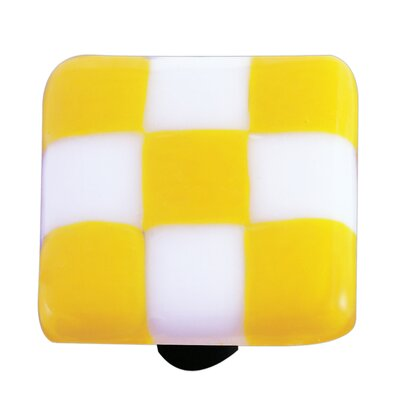 Hot Knobs Lil' Squares Cabinet Knob in Sunflower Yellow / White