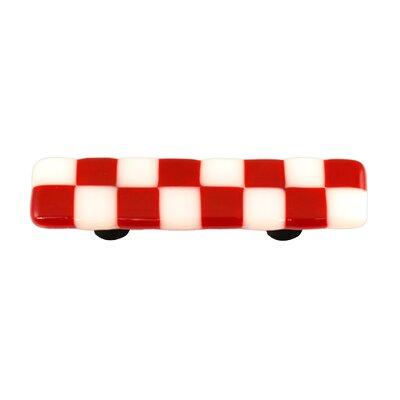 Hot Knobs Lil' Squares Cabinet Pull in Brick Red / White