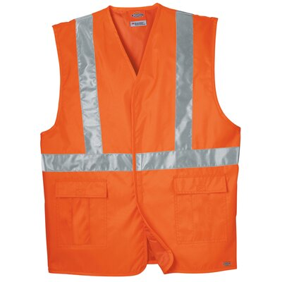 Dickies Large / Extra Large High Visibility ANSI Class 1 Tri-Co Safety Vest in Orange