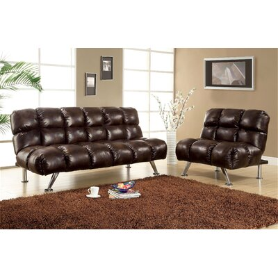 Hokku Designs Deliz Leather Vinyl Sleeper Sofa and Chair Set